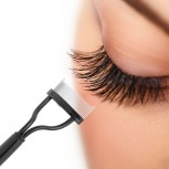 Eyelash comb separator with ergonomically bent stainless steel tips